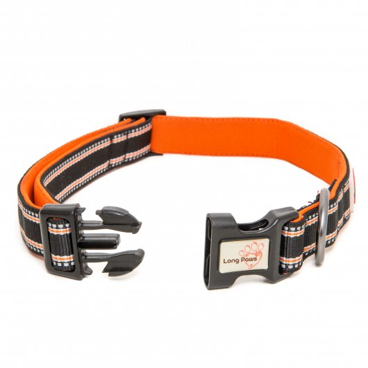 Long Paws Comfort Collection Collar Black with 3M Scotchlite reflective strips 2 sizes available