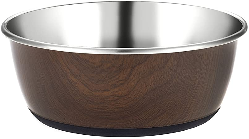 Classic Luxury Wood Effect Cubic Printed Stainless Steel Bowl 950ml