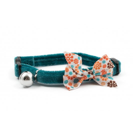 Safety Buckle Cat Collar Vintage Bow Teal