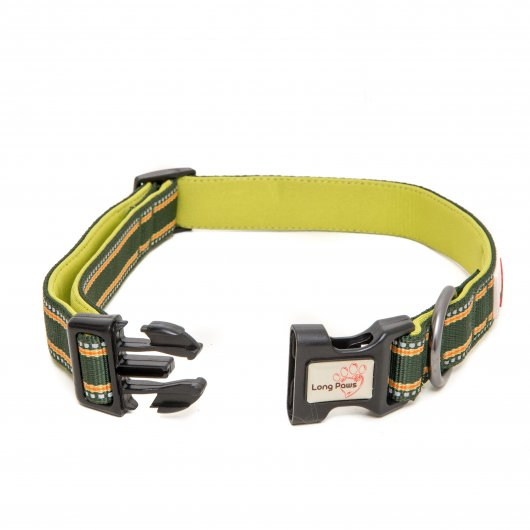 Long paws Comfort Collection Collar Green with 3M Scotchlite reflective strips  2 sizes available
