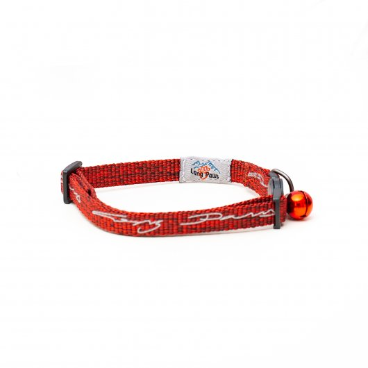 Long Paws Tom & Tabby Reflective Cat Collar Crimson Red