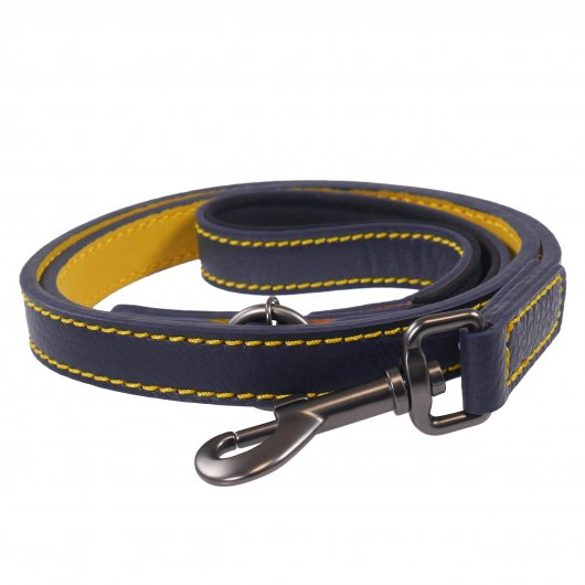 Joules For Dapper Dogs Navy Leather Dog Lead With Padded Handle