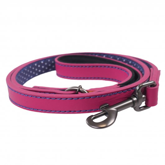 Joules For Dapper Dogs Pink With Polka Dot Lining Leather Dog Lead With Padded Handle