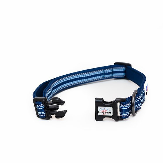 Long Paws Collection Collar Navy with 3M Scotchlite reflective strips 2 sizes